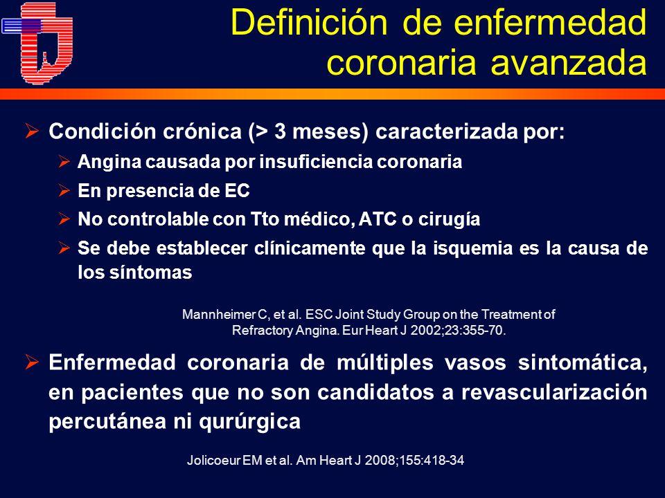 Condición crónica (> 3 meses) caracterizada por: Angina causada por insuficiencia coronaria En presencia de EC No controlable con Tto médico, ATC o cirugía Se debe establecer clínicamente que la isquemia es la causa de los síntomas Enfermedad coronaria de múltiples vasos sintomática, en pacientes que no son candidatos a revascularización percutánea ni qurúrgica Definición de enfermedad coronaria avanzada Jolicoeur EM et al.