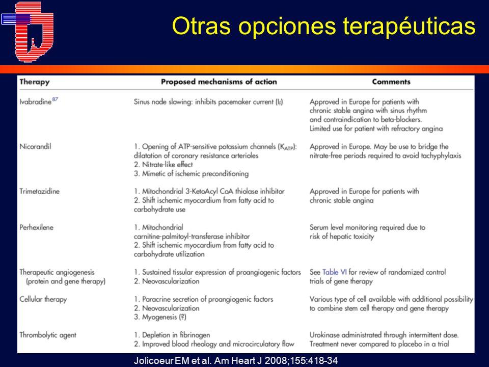Otras opciones terapéuticas Jolicoeur EM et al. Am Heart J 2008;155:418-34