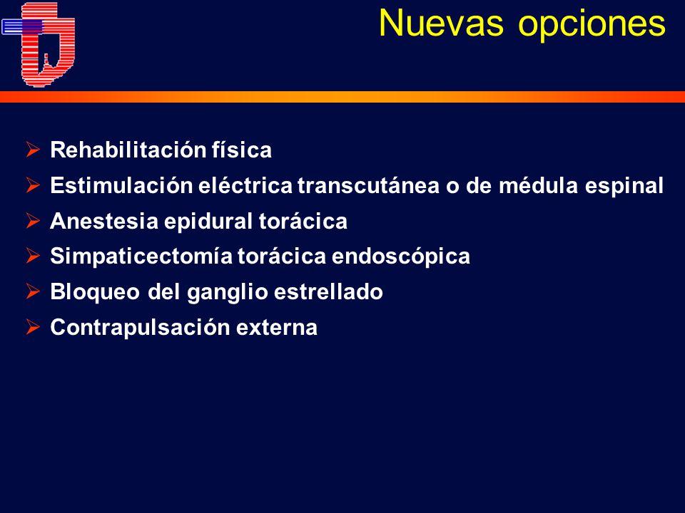 Rehabilitación física Estimulación eléctrica transcutánea o de médula espinal Anestesia epidural torácica Simpaticectomía torácica endoscópica Bloqueo