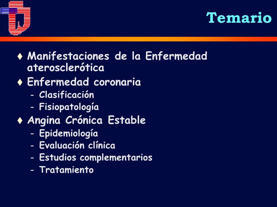 Temario t Manifestaciones de la Enfermedad aterosclerótica t Enfermedad coronaria – Clasificación – Fisiopatología t Angina Crónica Estable – Epidemiología – Evaluación clínica – Estudios complementarios – Tratamiento
