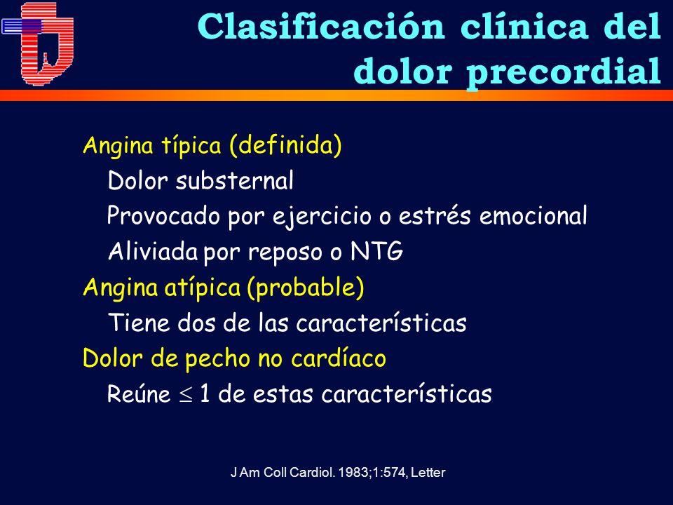 Clasificación clínica del dolor precordial Angina típica (definida) Dolor substernal Provocado por ejercicio o estrés emocional Aliviada por reposo o NTG Angina atípica (probable) Tiene dos de las características Dolor de pecho no cardíaco Reúne 1 de estas características J Am Coll Cardiol.