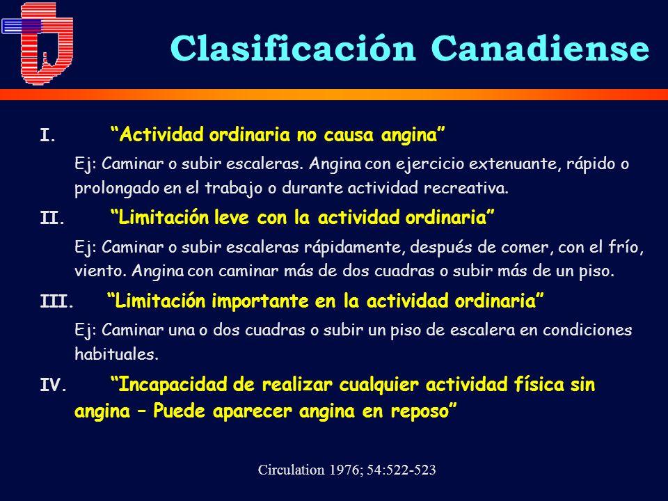 Clasificación Canadiense I. Actividad ordinaria no causa angina Ej: Caminar o subir escaleras. Angina con ejercicio extenuante, rápido o prolongado en