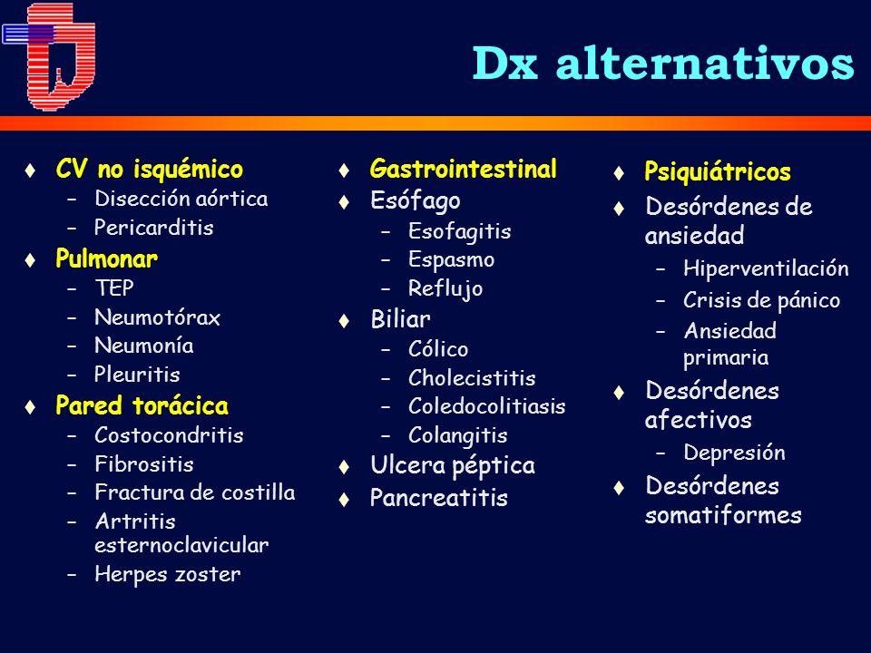 Dx alternativos t CV no isquémico –Disección aórtica –Pericarditis t Pulmonar –TEP –Neumotórax –Neumonía –Pleuritis t Pared torácica –Costocondritis –