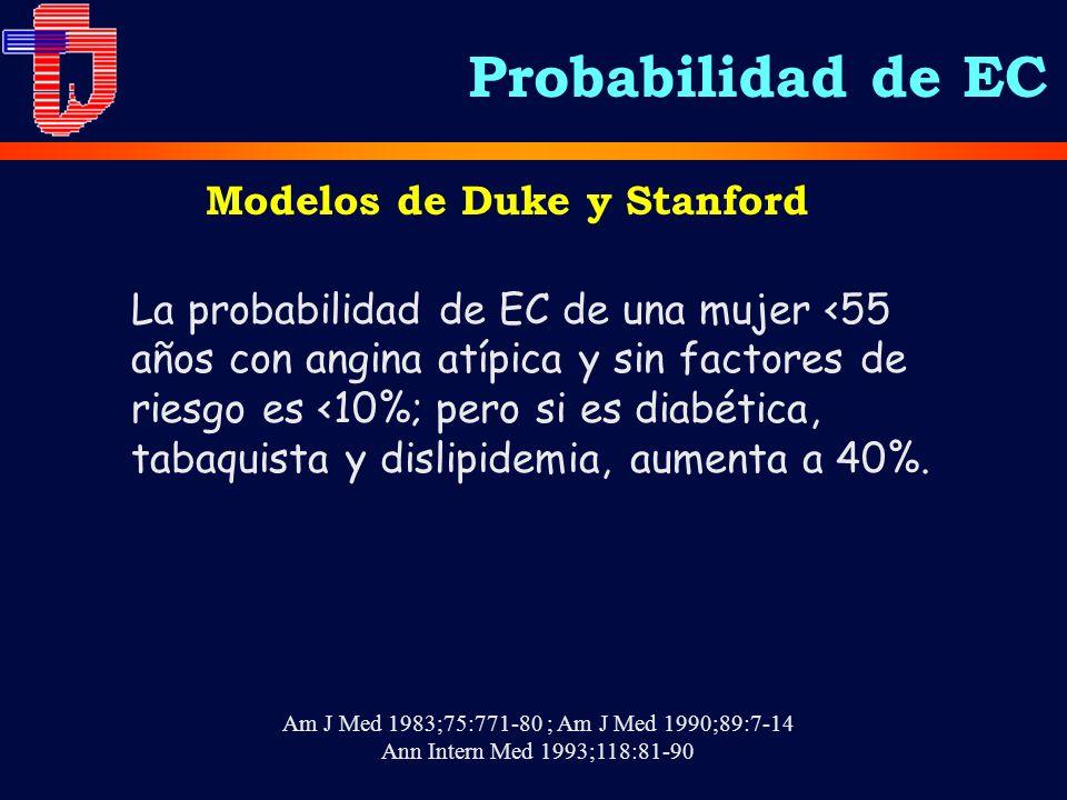 La probabilidad de EC de una mujer <55 años con angina atípica y sin factores de riesgo es <10%; pero si es diabética, tabaquista y dislipidemia, aume