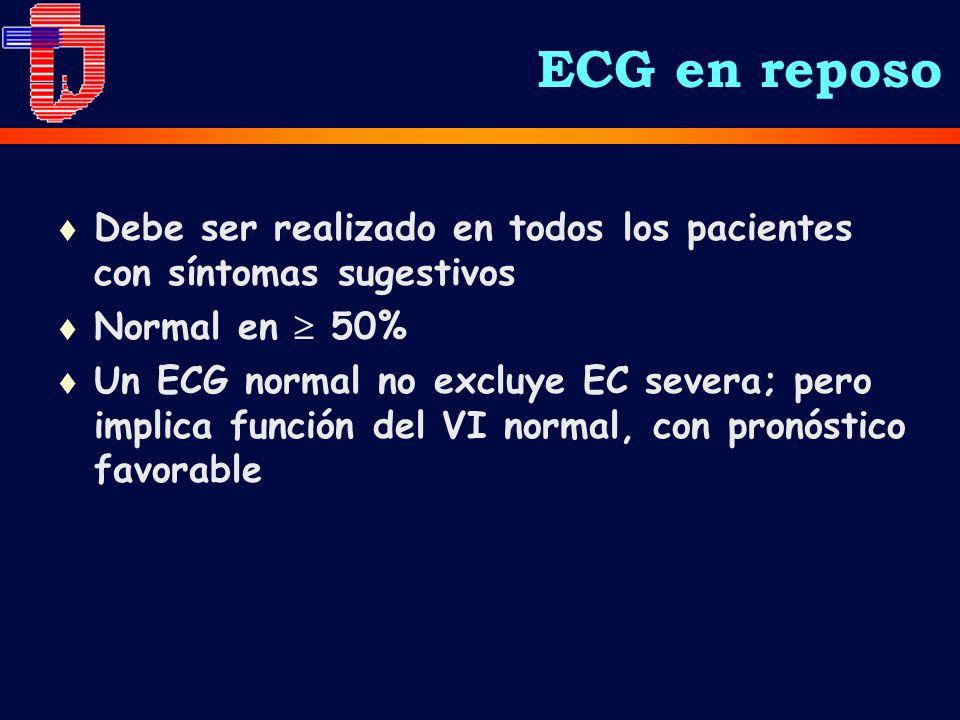 ECG en reposo t Debe ser realizado en todos los pacientes con síntomas sugestivos t Normal en 50% t Un ECG normal no excluye EC severa; pero implica función del VI normal, con pronóstico favorable