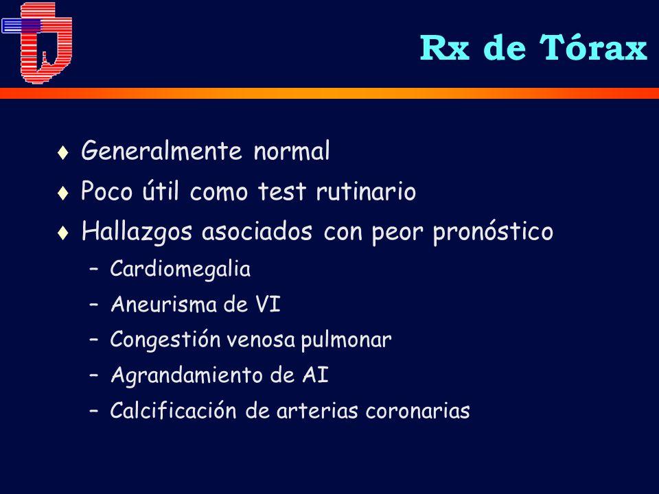 t Generalmente normal t Poco útil como test rutinario t Hallazgos asociados con peor pronóstico –Cardiomegalia –Aneurisma de VI –Congestión venosa pulmonar –Agrandamiento de AI –Calcificación de arterias coronarias Rx de Tórax