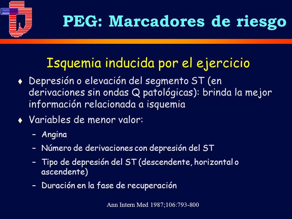 Isquemia inducida por el ejercicio t Depresión o elevación del segmento ST (en derivaciones sin ondas Q patológicas): brinda la mejor información rela