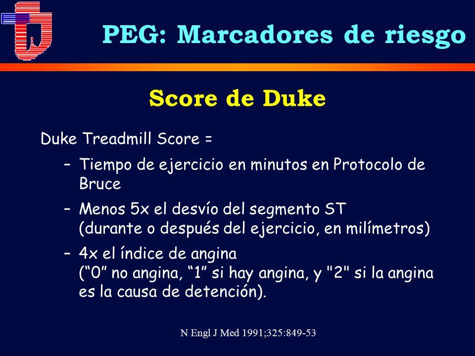 Score de Duke Duke Treadmill Score = –Tiempo de ejercicio en minutos en Protocolo de Bruce –Menos 5x el desvío del segmento ST (durante o después del ejercicio, en milímetros) –4x el índice de angina (0 no angina, 1 si hay angina, y 2 si la angina es la causa de detención).