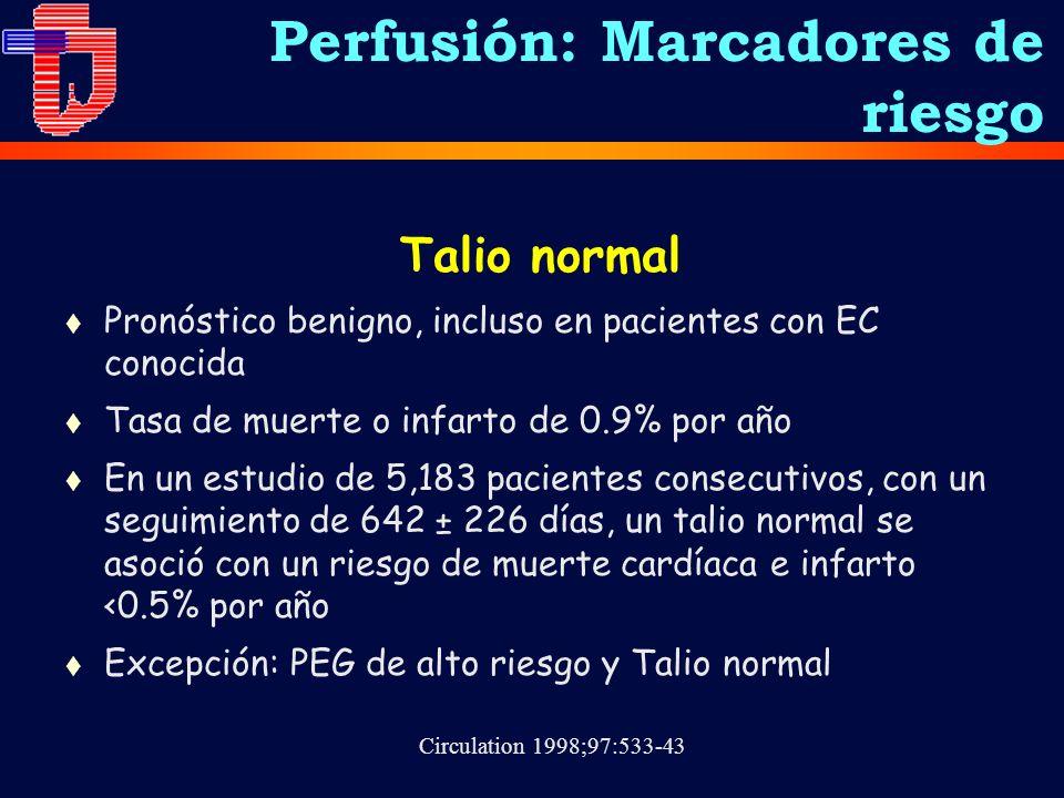 Talio normal t Pronóstico benigno, incluso en pacientes con EC conocida t Tasa de muerte o infarto de 0.9% por año t En un estudio de 5,183 pacientes consecutivos, con un seguimiento de 642 ± 226 días, un talio normal se asoció con un riesgo de muerte cardíaca e infarto <0.5% por año t Excepción: PEG de alto riesgo y Talio normal Circulation 1998;97:533-43 Perfusión: Marcadores de riesgo