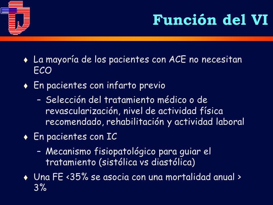 t La mayoría de los pacientes con ACE no necesitan ECO t En pacientes con infarto previo –Selección del tratamiento médico o de revascularización, niv