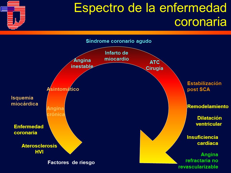 Espectro de la enfermedad coronaria Infarto de miocardio Remodelamiento Dilatación ventricular Insuficiencia cardíaca Síndrome coronario agudo Enferme