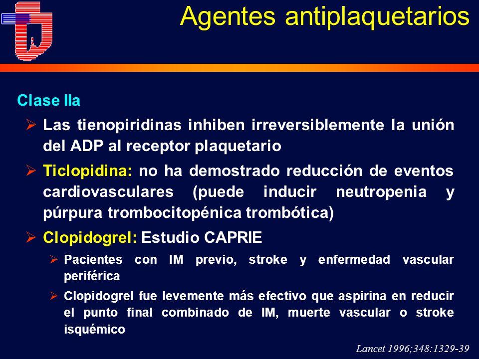 Las tienopiridinas inhiben irreversiblemente la unión del ADP al receptor plaquetario Ticlopidina: no ha demostrado reducción de eventos cardiovascula