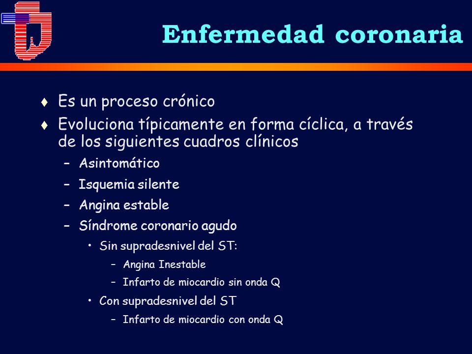 Enfermedad coronaria t Es un proceso crónico t Evoluciona típicamente en forma cíclica, a través de los siguientes cuadros clínicos –Asintomático –Isq