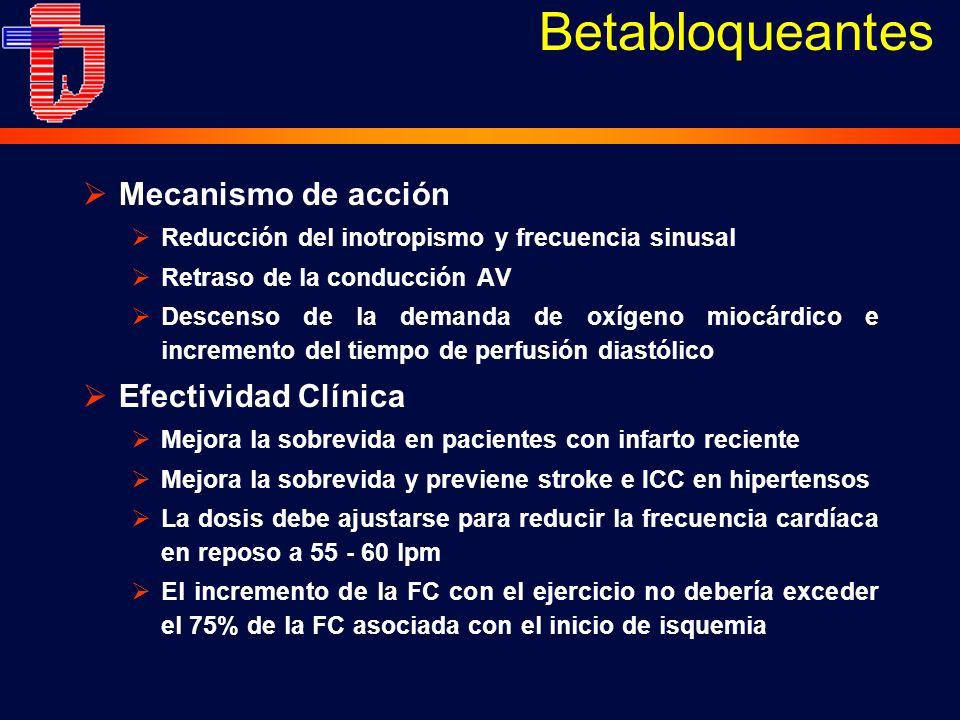 Mecanismo de acción Reducción del inotropismo y frecuencia sinusal Retraso de la conducción AV Descenso de la demanda de oxígeno miocárdico e incremento del tiempo de perfusión diastólico Efectividad Clínica Mejora la sobrevida en pacientes con infarto reciente Mejora la sobrevida y previene stroke e ICC en hipertensos La dosis debe ajustarse para reducir la frecuencia cardíaca en reposo a 55 - 60 lpm El incremento de la FC con el ejercicio no debería exceder el 75% de la FC asociada con el inicio de isquemia Betabloqueantes