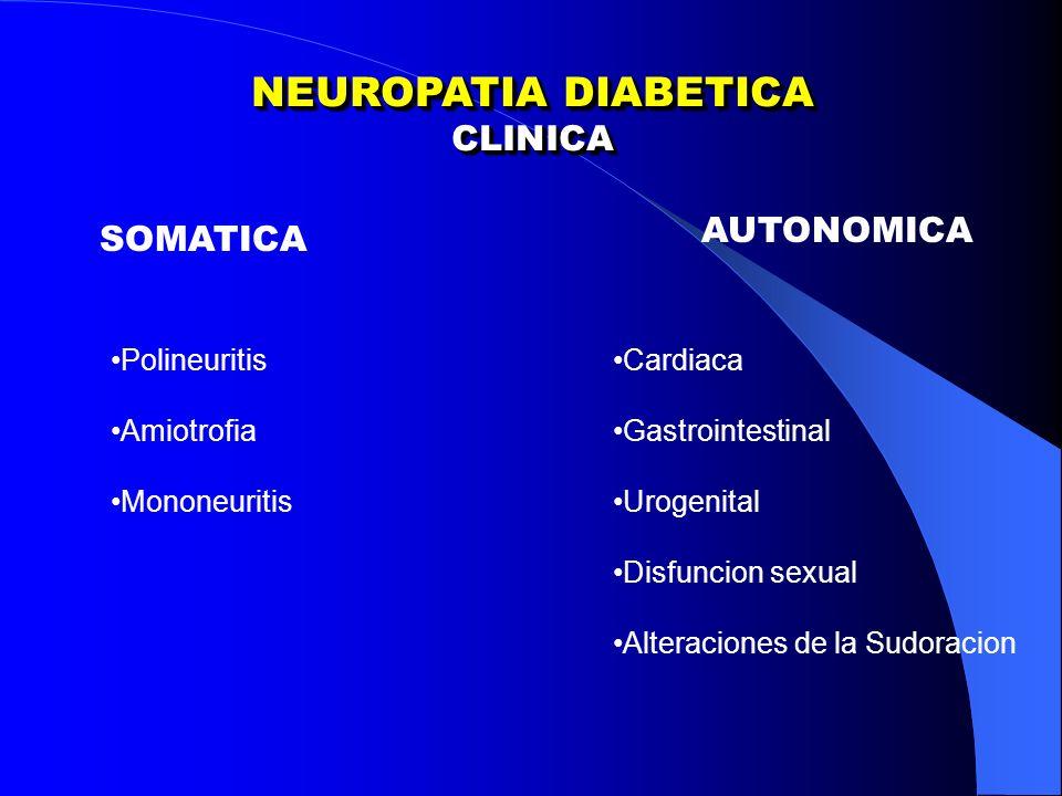 CLINICA CLINICA SOMATICA AUTONOMICA Polineuritis Amiotrofia Mononeuritis Cardiaca Gastrointestinal Urogenital Disfuncion sexual Alteraciones de la Sudoracion