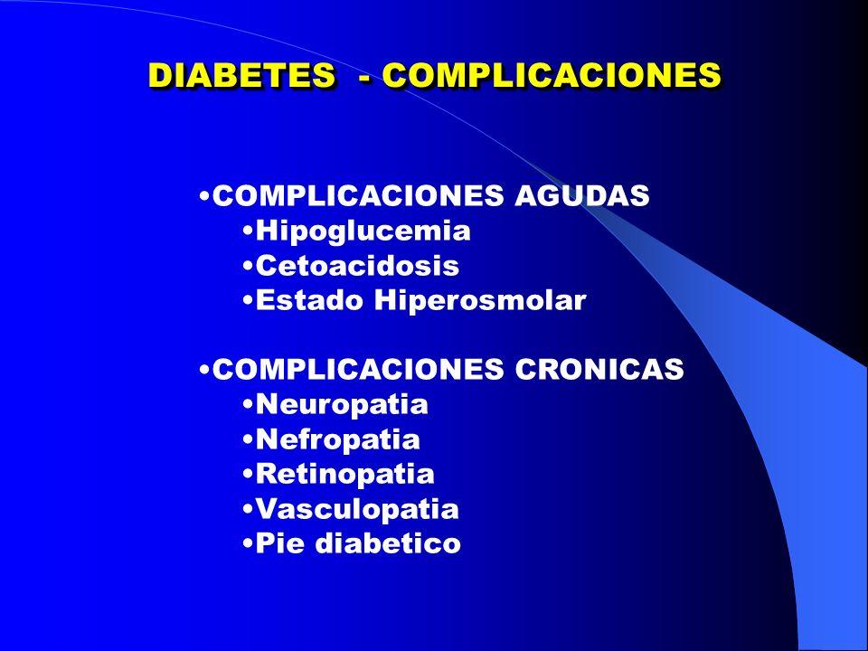 DIABETES - COMPLICACIONES COMPLICACIONES AGUDAS Hipoglucemia Cetoacidosis Estado Hiperosmolar COMPLICACIONES CRONICAS Neuropatia Nefropatia Retinopatia Vasculopatia Pie diabetico