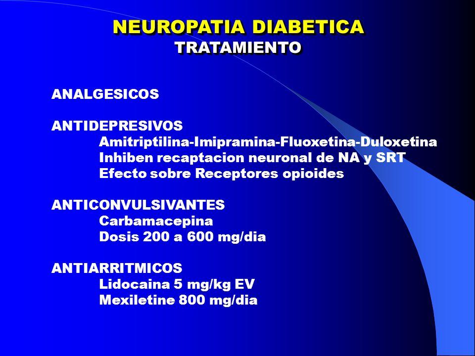 NEUROPATIA DIABETICA TRATAMIENTO TRATAMIENTO ANALGESICOS ANTIDEPRESIVOS Amitriptilina-Imipramina-Fluoxetina-Duloxetina Inhiben recaptacion neuronal de NA y SRT Efecto sobre Receptores opioides ANTICONVULSIVANTES Carbamacepina Dosis 200 a 600 mg/dia ANTIARRITMICOS Lidocaina 5 mg/kg EV Mexiletine 800 mg/dia