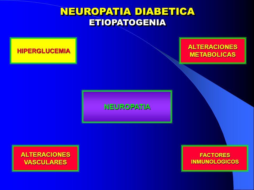 NEUROPATIA DIABETICA TRATAMIENTO TRATAMIENTO ANTIOXIDANTES Acido Tioctico Reduce radicales libres Comprimidos x 600 mg (Ciagen) ACIDO GAMMA LINOLENICO Dosis 480 mg dia (12 capsulas) Aumento de prostaglandinas Vasodilatador INHIBIDORES ALDOSA REDUCTASA Disminuyen via de polioles Reducen formacion Sorbitol Sorbinil - Tolrestat – Epalretast – Ponalrestat Hepatotoxico