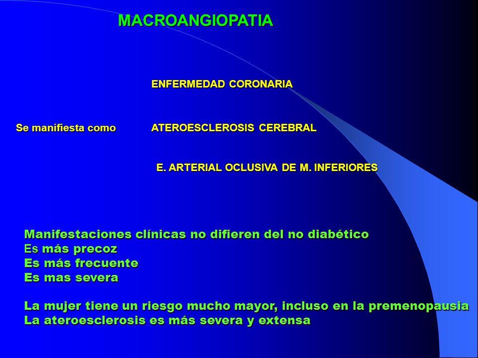 MACROANGIOPATIA Se manifiesta como ENFERMEDAD CORONARIA ATEROESCLEROSIS CEREBRAL E.