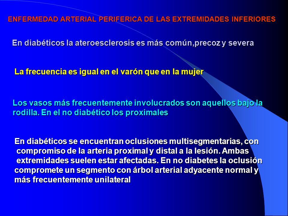 ENFERMEDAD ARTERIAL PERIFERICA DE LAS EXTREMIDADES INFERIORES En diabéticos la ateroesclerosis es más común,precoz y severa La frecuencia es igual en el varón que en la mujer Los vasos más frecuentemente involucrados son aquellos bajo la rodilla.