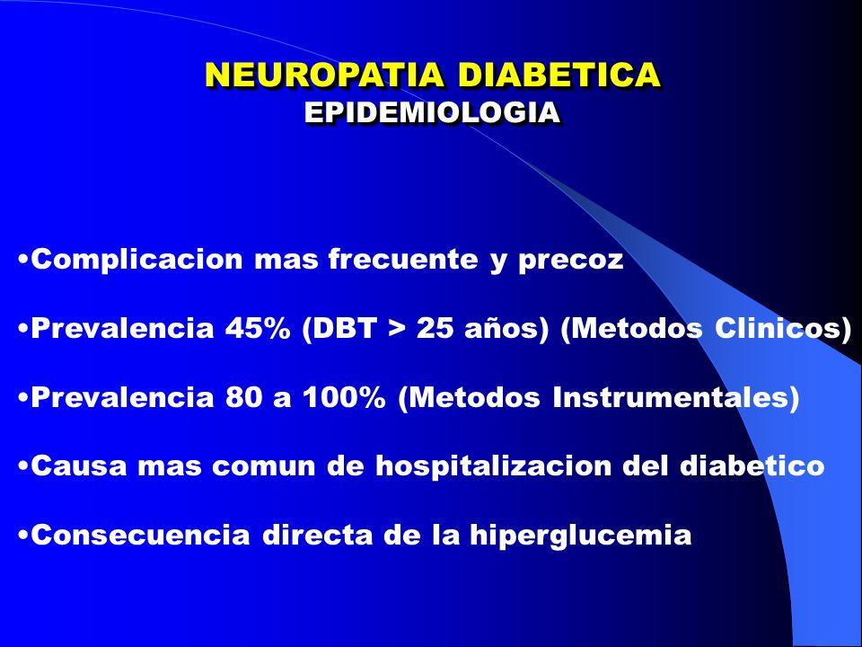 NEUROPATIA DIABETICA EPIDEMIOLOGIA EPIDEMIOLOGIA Complicacion mas frecuente y precoz Prevalencia 45% (DBT > 25 años) (Metodos Clinicos) Prevalencia 80 a 100% (Metodos Instrumentales) Causa mas comun de hospitalizacion del diabetico Consecuencia directa de la hiperglucemia