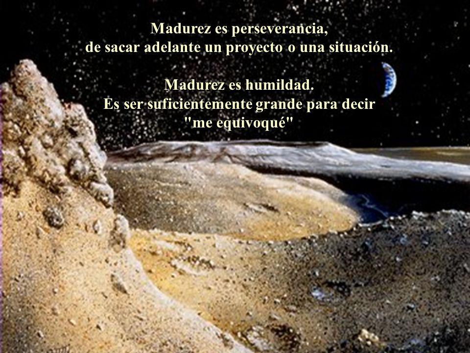 Madurez es perseverancia, de sacar adelante un proyecto o una situación. Madurez es humildad. Es ser suficientemente grande para decir