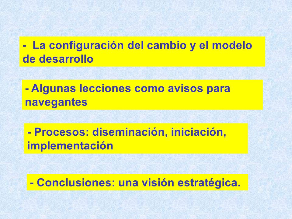 - La configuración del cambio y el modelo de desarrollo - Algunas lecciones como avisos para navegantes - Procesos: diseminación, iniciación, implementación - Conclusiones: una visión estratégica.