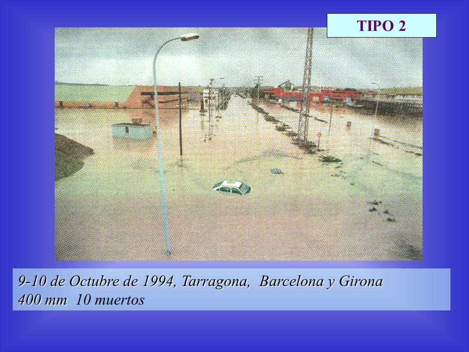 9-10 de Octubre de 1994, Tarragona, Barcelona y Girona 400 mm 400 mm 10 muertos TIPO 2
