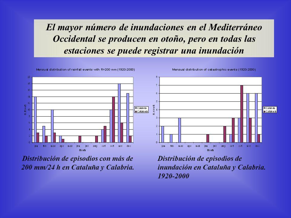 El mayor número de inundaciones en el Mediterráneo Occidental se producen en otoño, pero en todas las estaciones se puede registrar una inundación Distribución de episodios con más de 200 mm/24 h en Cataluña y Calabria.