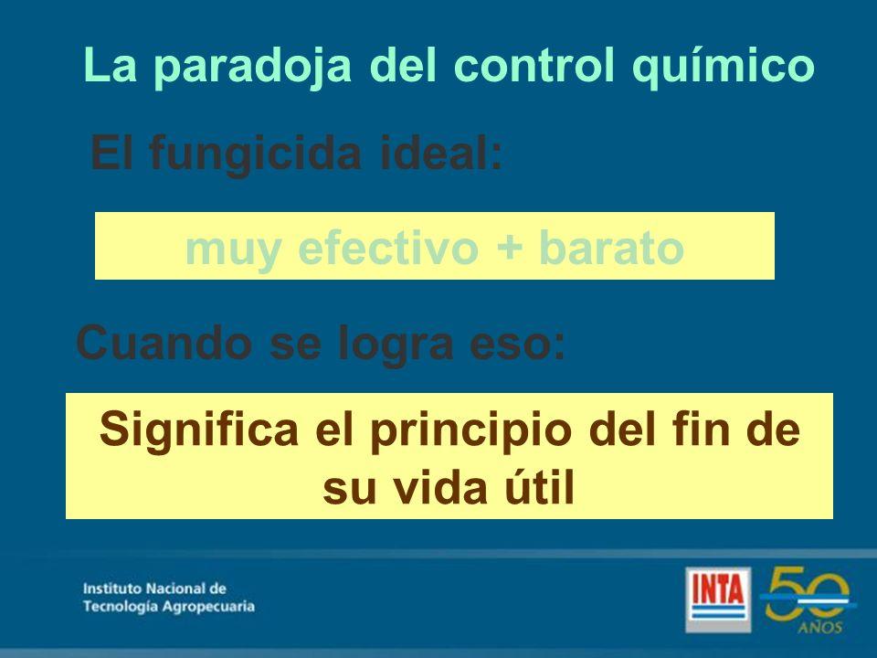 La paradoja del control químico El fungicida ideal: muy efectivo + barato Cuando se logra eso: Significa el principio del fin de su vida útil