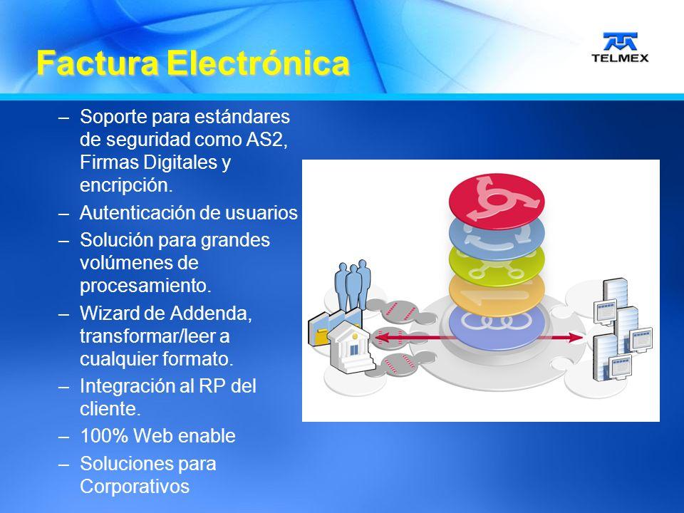 –Soporte para estándares de seguridad como AS2, Firmas Digitales y encripción.