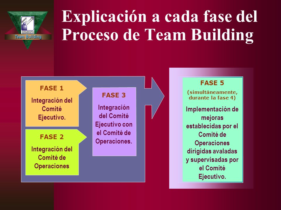 Team Building Explicación a cada fase del Proceso de Team Building FASE 2 Integración del Comité de Operaciones FASE 3 Integración del Comité Ejecutivo con el Comité de Operaciones.