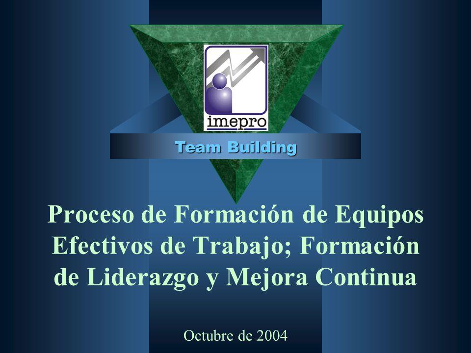 Proceso de Formación de Equipos Efectivos de Trabajo; Formación de Liderazgo y Mejora Continua Octubre de 2004 Team Building