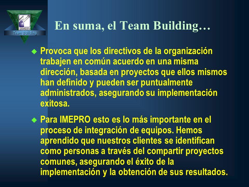Team Building En suma, el Team Building… u Provoca que los directivos de la organización trabajen en común acuerdo en una misma dirección, basada en proyectos que ellos mismos han definido y pueden ser puntualmente administrados, asegurando su implementación exitosa.