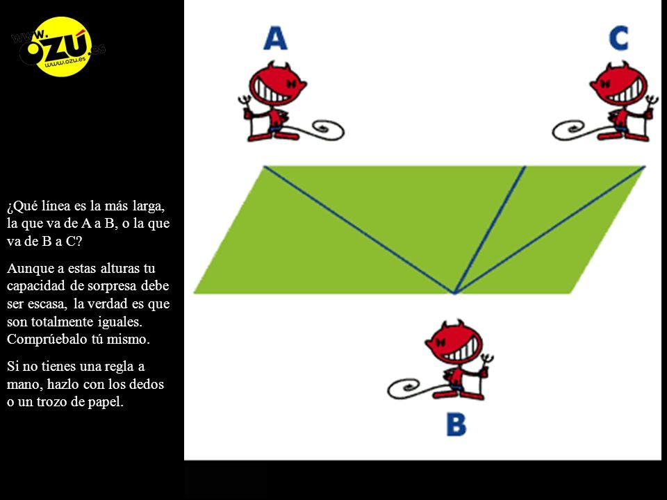 ¿Qué línea es la más larga, la que va de A a B, o la que va de B a C.