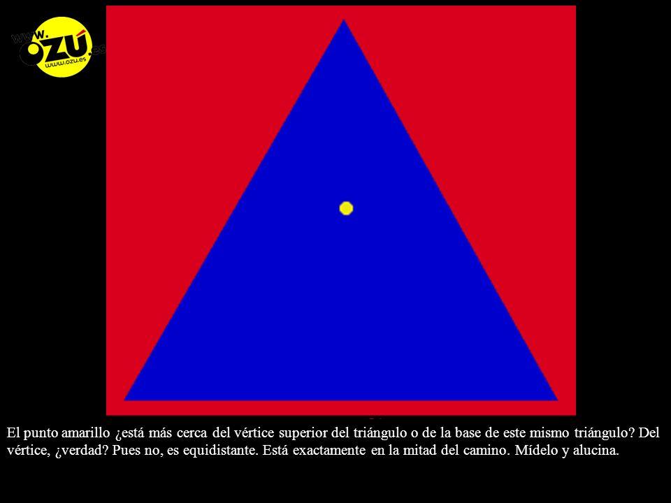 El punto amarillo ¿está más cerca del vértice superior del triángulo o de la base de este mismo triángulo.