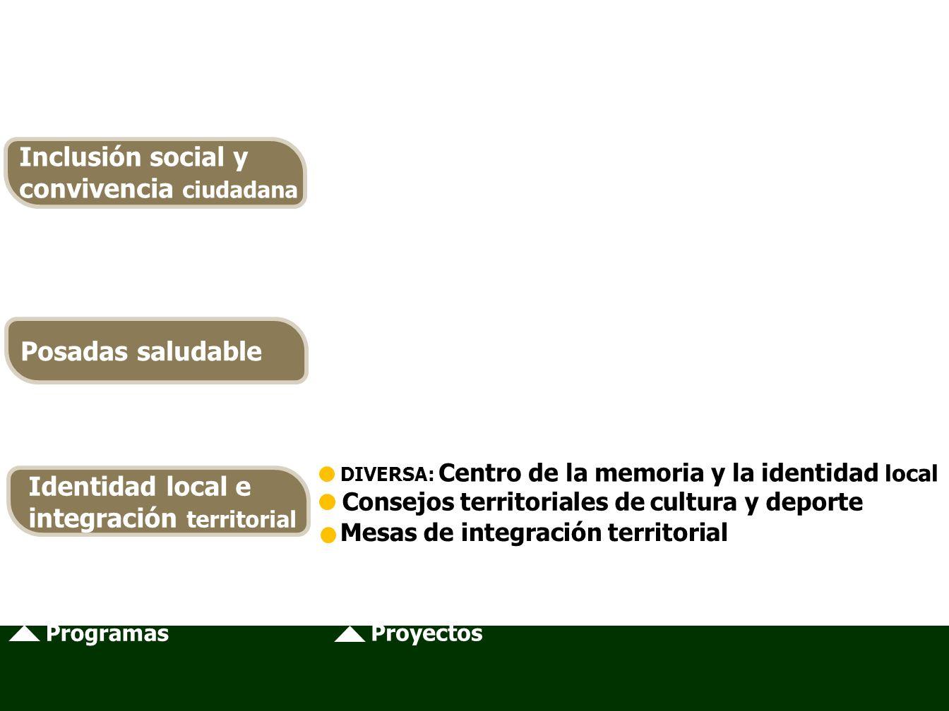 Programas Proyectos DIVERSA: Centro de la memoria y la identidad local Consejos territoriales de cultura y deporte Mesas de integración territorial Inclusión social y convivencia ciudadana Posadas saludable Identidad local e integración territorial