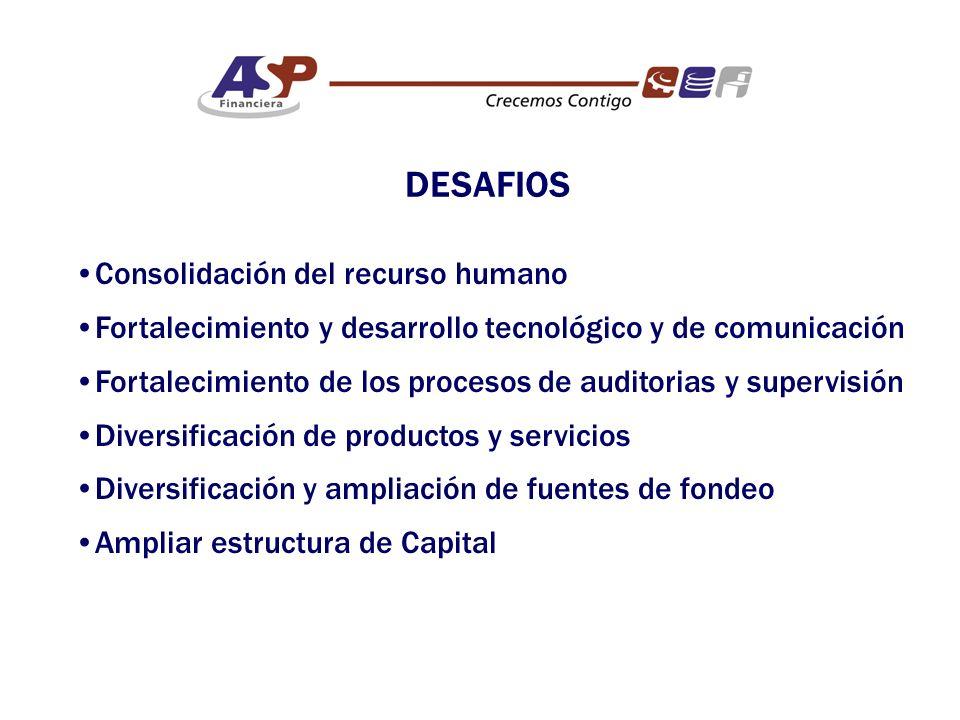 Consolidación del recurso humano Fortalecimiento y desarrollo tecnológico y de comunicación Fortalecimiento de los procesos de auditorias y supervisión Diversificación de productos y servicios Diversificación y ampliación de fuentes de fondeo Ampliar estructura de Capital DESAFIOS