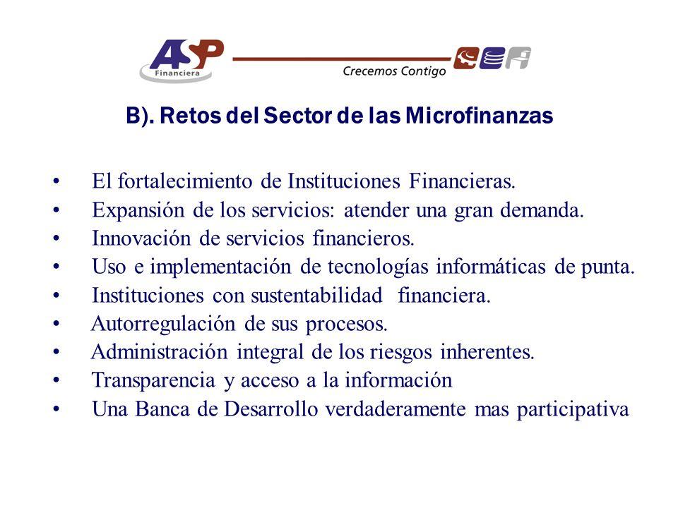 B). Retos del Sector de las Microfinanzas El fortalecimiento de Instituciones Financieras.