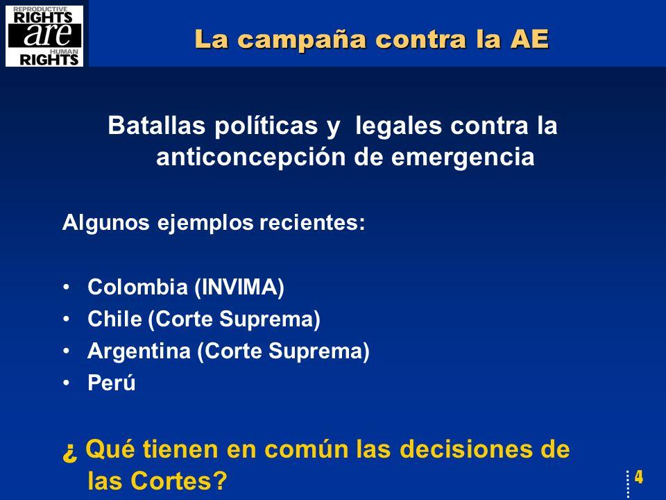 4 La campaña contra la AE Batallas políticas y legales contra la anticoncepción de emergencia Algunos ejemplos recientes: Colombia (INVIMA) Chile (Corte Suprema) Argentina (Corte Suprema) Perú ¿ Qué tienen en común las decisiones de las Cortes