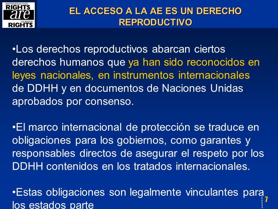 7 EL ACCESO A LA AE ES UN DERECHO REPRODUCTIVO Los derechos reproductivos abarcan ciertos derechos humanos que ya han sido reconocidos en leyes nacionales, en instrumentos internacionales de DDHH y en documentos de Naciones Unidas aprobados por consenso.