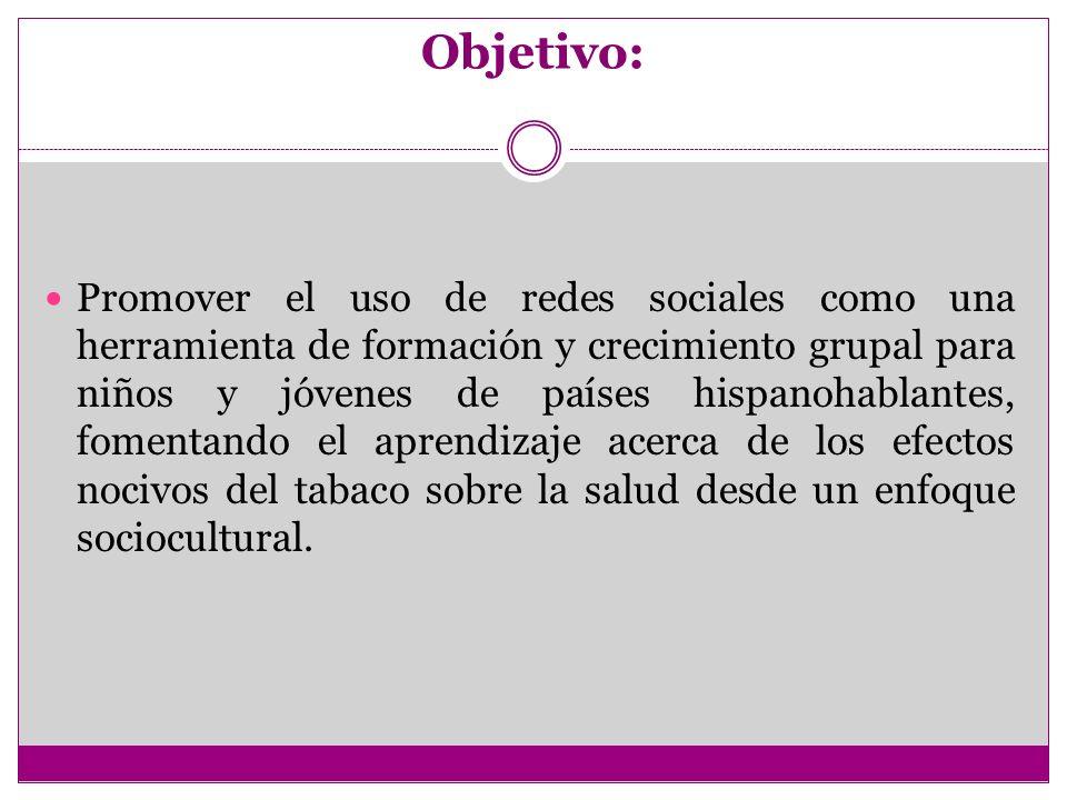 Objetivo: Promover el uso de redes sociales como una herramienta de formación y crecimiento grupal para niños y jóvenes de países hispanohablantes, fo