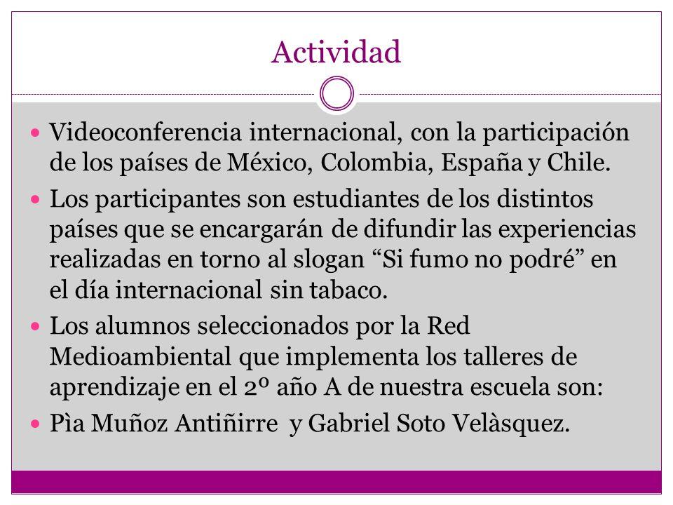 Actividad Videoconferencia internacional, con la participación de los países de México, Colombia, España y Chile. Los participantes son estudiantes de