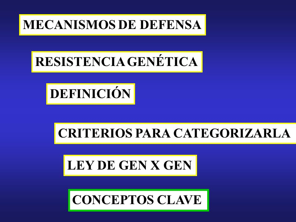 MECANISMOS DE DEFENSA RESISTENCIA GENÉTICA DEFINICIÓN LEY DE GEN X GEN CRITERIOS PARA CATEGORIZARLA CONCEPTOS CLAVE