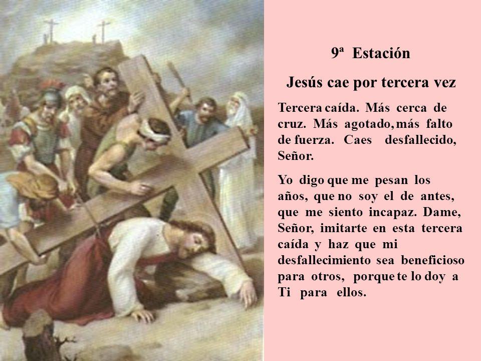 9ª Estación Jesús cae por tercera vez Tercera caída. Más cerca de cruz. Más agotado, más falto de fuerza. Caes desfallecido, Señor. Yo digo que me pes