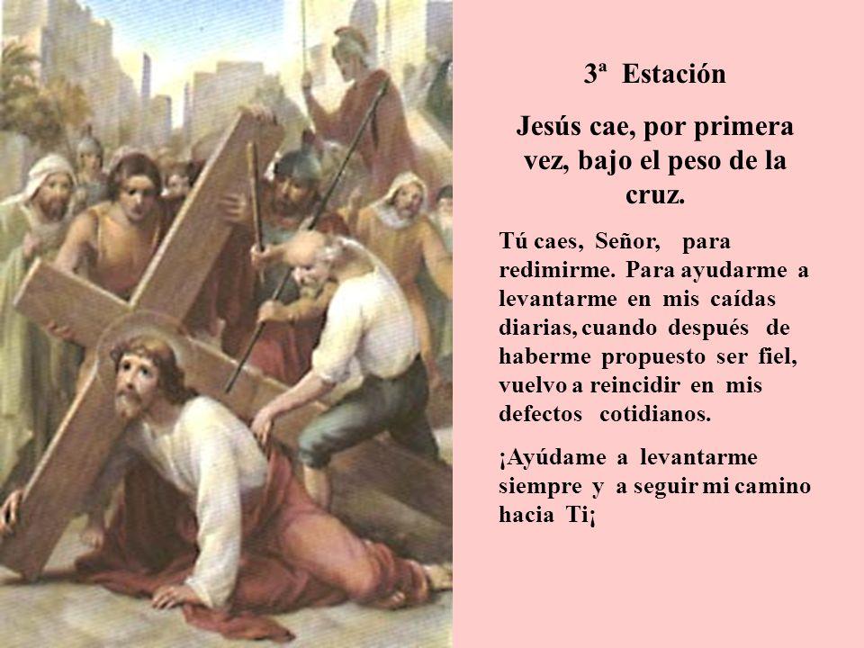 3ª Estación Jesús cae, por primera vez, bajo el peso de la cruz. Tú caes, Señor, para redimirme. Para ayudarme a levantarme en mis caídas diarias, cua