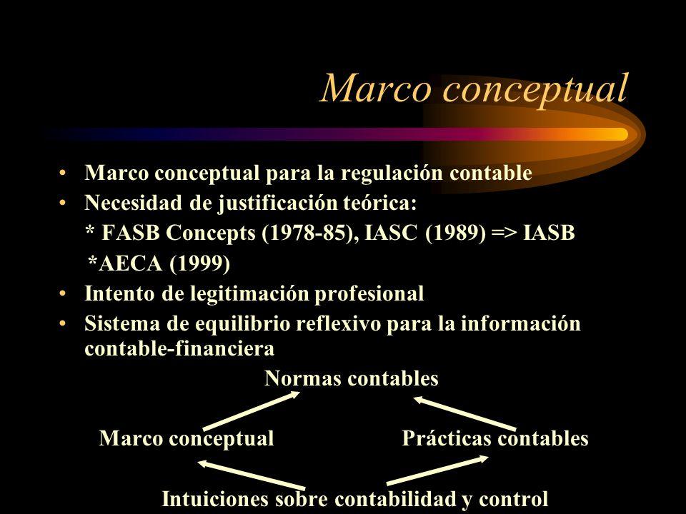 Marco conceptual Marco conceptual para la regulación contable Necesidad de justificación teórica: * FASB Concepts (1978-85), IASC (1989) => IASB *AECA (1999) Intento de legitimación profesional Sistema de equilibrio reflexivo para la información contable-financiera Normas contables Marco conceptualPrácticas contables Intuiciones sobre contabilidad y control