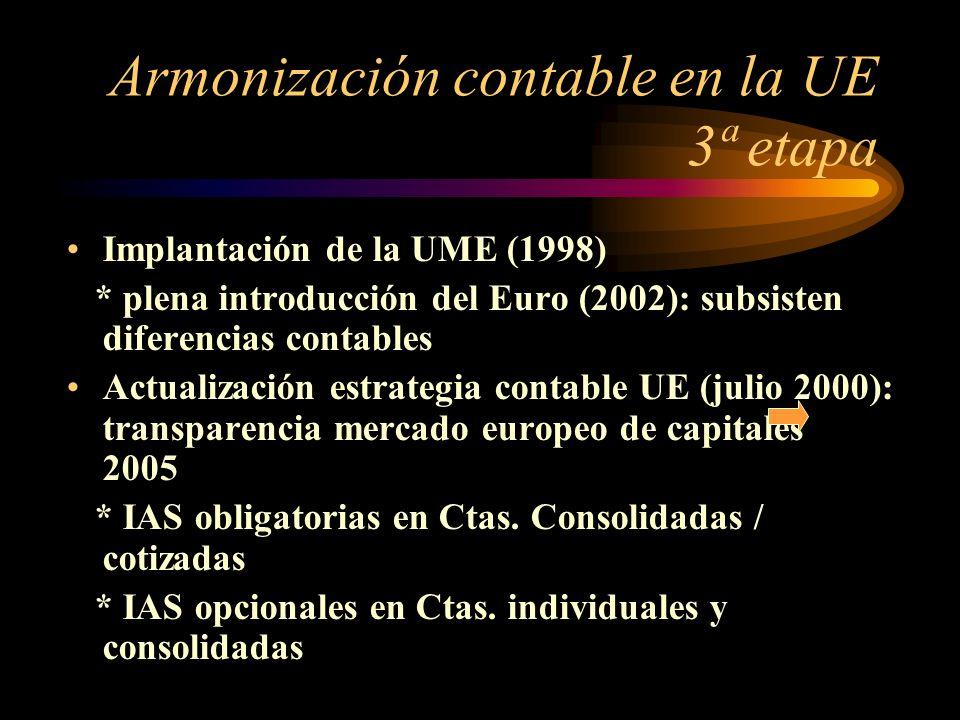 Armonización contable en la UE 3ª etapa Implantación de la UME (1998) * plena introducción del Euro (2002): subsisten diferencias contables Actualización estrategia contable UE (julio 2000): transparencia mercado europeo de capitales 2005 * IAS obligatorias en Ctas.