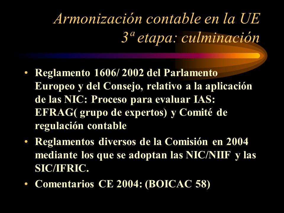 Armonización contable en la UE 3ª etapa: culminación Reglamento 1606/ 2002 del Parlamento Europeo y del Consejo, relativo a la aplicación de las NIC: Proceso para evaluar IAS: EFRAG( grupo de expertos) y Comité de regulación contable Reglamentos diversos de la Comisión en 2004 mediante los que se adoptan las NIC/NIIF y las SIC/IFRIC.