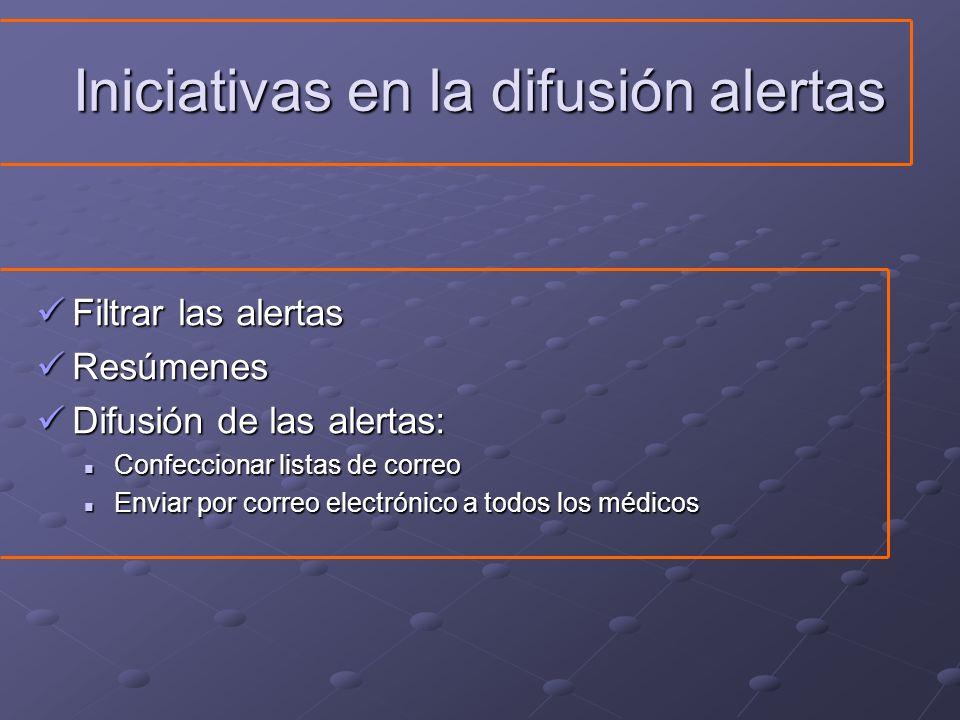 Iniciativas en la difusión alertas Filtrar las alertas Filtrar las alertas Resúmenes Resúmenes Difusión de las alertas: Difusión de las alertas: Confe